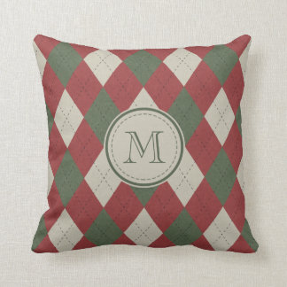 Green & Red Argyle Plaid Pattern with Monogram Throw Pillow