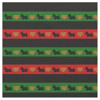 Green, red, black stripe, Scottish Terrier heart Fabric