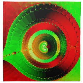 Green Red Circle Fractal Napkin