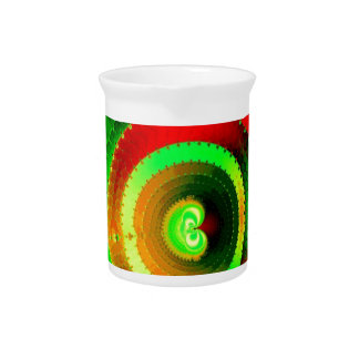 Green Red Circle Fractal Pitcher