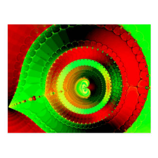 Green Red Circle Fractal Postcard