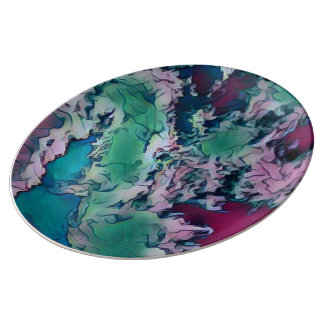 Green Red Colorful Abstract Marbling Pattern Plate