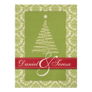 GREEN & RED Damask Holiday PARTY Invitations