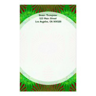 green red feathers stationery design