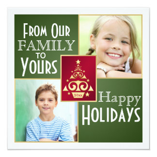 """Green, Red, Gold Christmas Tree Christmas Card 5.25"""" Square Invitation Card"""