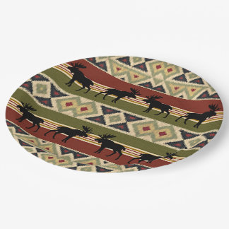 Green Red Ivory Ochre Ethnic Look Paper Plate