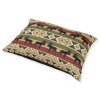 Green Red Ivory Ochre Ethnic Look Pet Bed