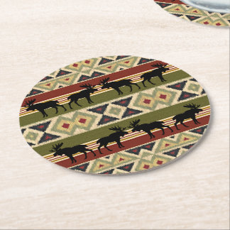 Green Red Ivory Ochre Ethnic Look Round Paper Coaster