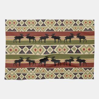 Green Red Ivory Ochre Yellow Ethnic Art Look Tea Towel