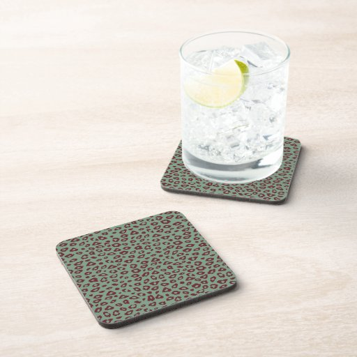 Green Red Leopard Print Drink Coasters