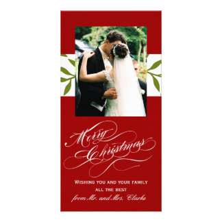 Green Red Newly Weds 1st Christmas Photo Card