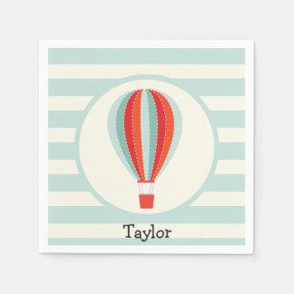 Green, Red, Orange Hot Air Balloon Disposable Serviette