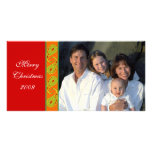 Green Red Orange Paisley Family Christmas Photo Personalized Photo Card