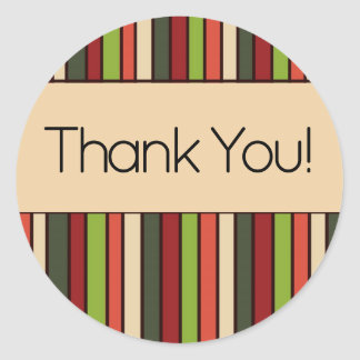 Green Red Orange Tan Retro Striped Thank You Classic Round Sticker