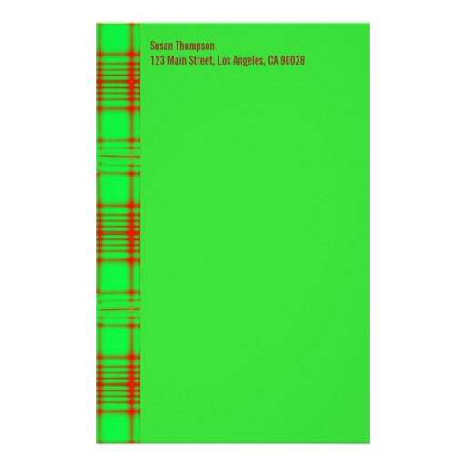 green red pattern customized stationery