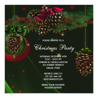 Green Red Pine Cones Elegant Christmas Party 13 Cm X 13 Cm Square Invitation Card