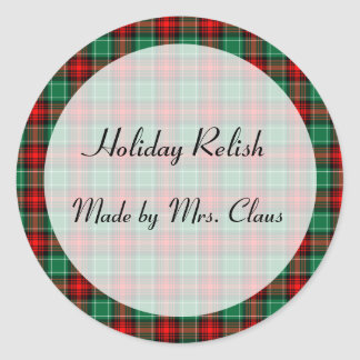 Green Red Plaid Custom Holiday Canning Jar Labels Round Sticker