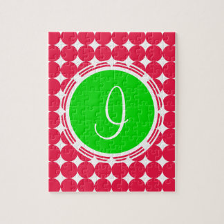 Green & Red Polka Dot Monogram Jigsaw Puzzle