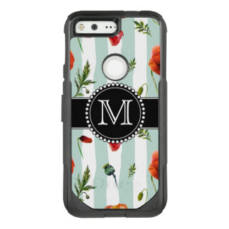 Green, Red Poppies, Flowers, Monogrammed OtterBox Commuter Google Pixel Case