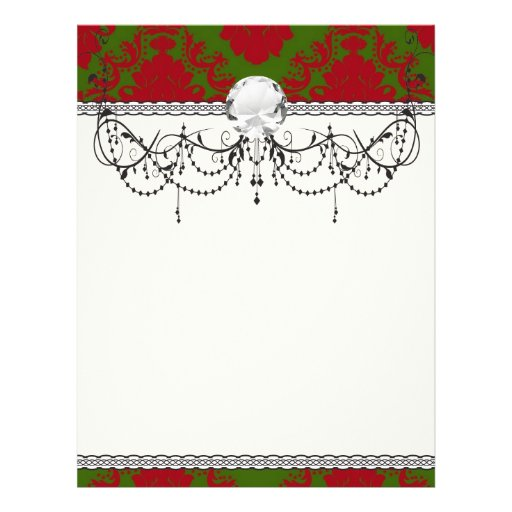 green red romantic christmas damask flyer design
