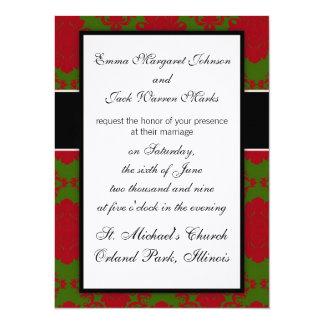 green red romantic christmas xmas damask 14 cm x 19 cm invitation card