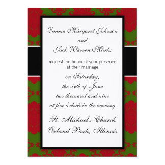 green red romantic christmas xmas damask 5.5x7.5 paper invitation card
