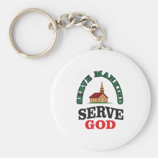 green red serve god basic round button key ring