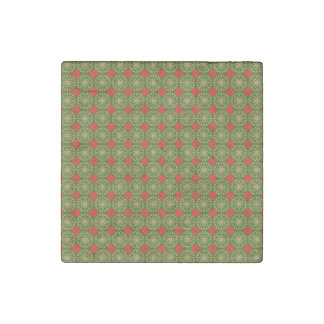 Green Red Striped Christmas Pattern Stone Magnet