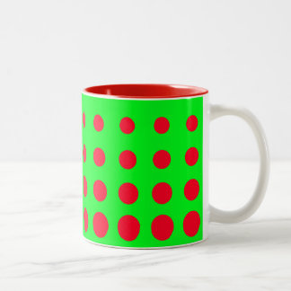 Green & Red  Vector abstract dot Two-Tone Coffee Mug