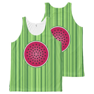 Green Red Watermelon Design All-Over Print Tank Top