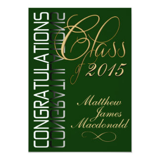 Green Reflection  Formal Graduation Party 5x7 Paper Invitation Card