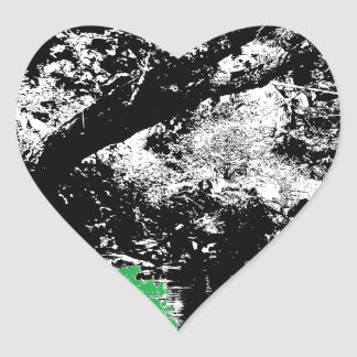 Green Reflection with Tree Heart Sticker