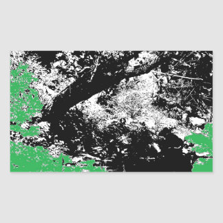 Green Reflection with Tree Rectangular Sticker