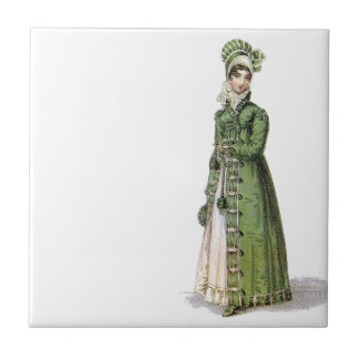 Green Regency Lady Small Square Tile