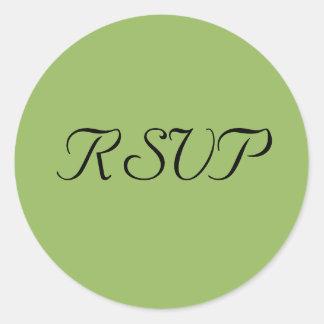 Green Regency Wedding RSVP Stickers