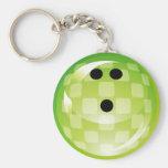 GREEN RETRO BOWLING BALL BASIC ROUND BUTTON KEY RING
