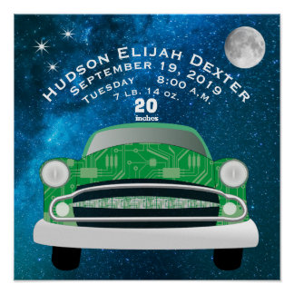 Green Retro Car Baby Boys Birth Stat Birth Record Poster