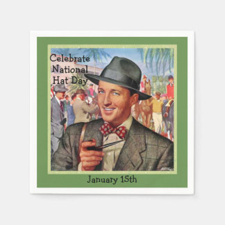 "Green Retro ""Celebrate Hat Day"" | January 15th Disposable Serviette"