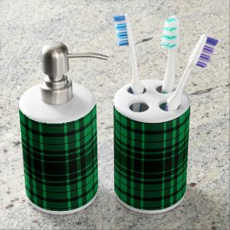 Green Retro Christmas Holiday Tartan Plaid Soap Dispenser And Toothbrush Holder