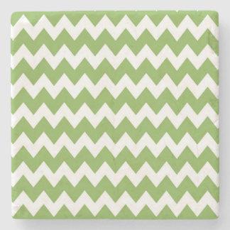 Green Retro Colorful Modern Chevron ZigZag Pattern Stone Coaster