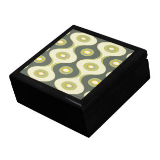 Green retro curves and ovals keepsake boxes