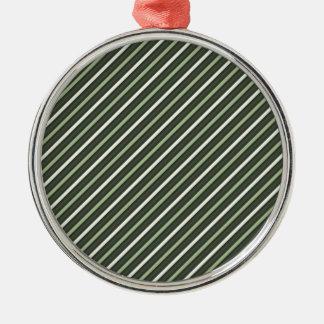 Green Retro Diagonal Stripes Silver-Colored Round Decoration