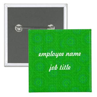 Green Retro Employee Name Tag Button