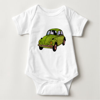 Green Retro Hippie Car Drawing , Jersey Bodysuit