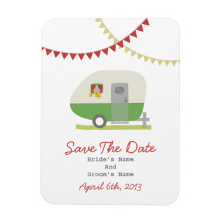 Green Retro Trailer Save The Date Magnet