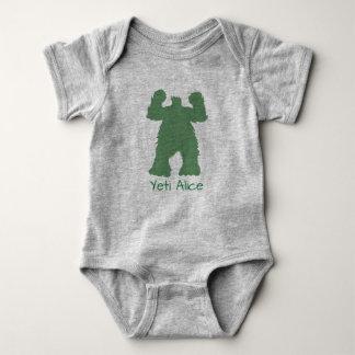 Green Retro Yeti illustration Baby Bodysuit