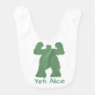 Green Retro Yeti Illustration Bib