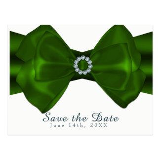 Green Ribbon & Diamonds Elegant Glam Save the Date Postcard