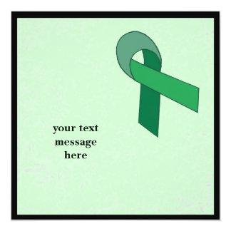 green ribbon event 13 cm x 13 cm square invitation card