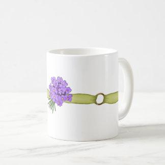 Green Ribbon, Gold Rings, Purple Flowers Coffee Mug